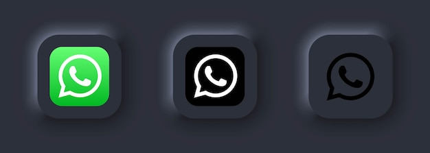 Киев, украина - 12 марта 2021 г. набор иконок whatsapp. иконки социальных сетей. реалистичный набор whatsapp. белый пользовательский интерфейс neumorphic ui ux. стиль неоморфизма.