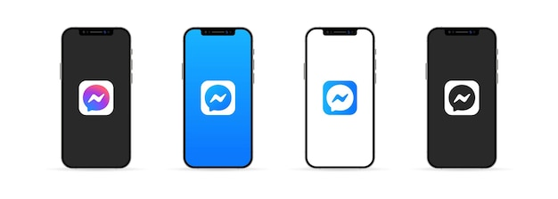 Kyiv, ukraine - march 30, 2021: messenger app on the iphone screen. ui ux white user interface.