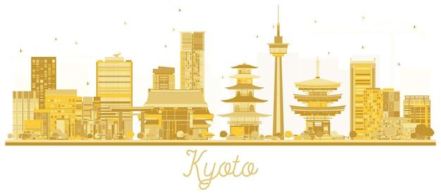 교토 일본 도시 스카이 라인 황금 실루엣입니다. 벡터 일러스트 레이 션. 랜드마크가 있는 도시 풍경.