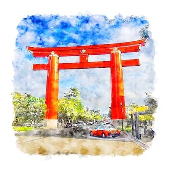 Киото япония акварельный эскиз рисованной иллюстрации