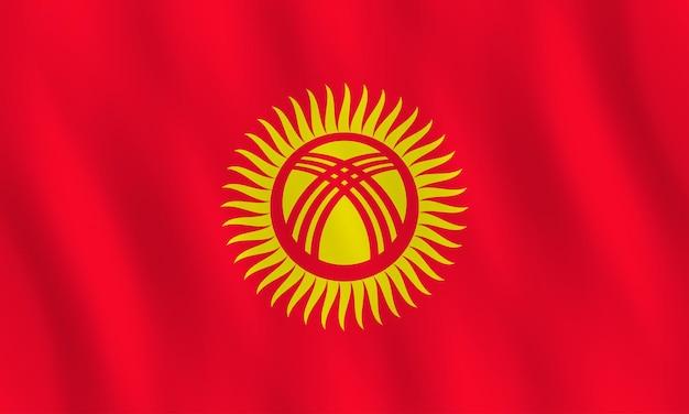 Флаг кыргызстана с развевающимся эффектом, официальная пропорция.