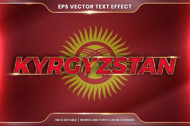 Kyrgyzstan with its national country flag, editable text effect style with gradient gold color concept