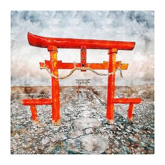 큐슈 일본 수채화 스케치 손으로 그린 그림