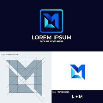 L 및 m 모노그램 로고