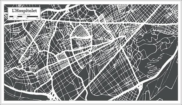 복고 스타일의 l'hospitalet 스페인 도시 지도입니다. 개요 지도. 벡터 일러스트 레이 션.