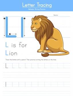 Письмо l отслеживание животных алфавит l для льва