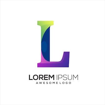 L文字のロゴの最初のカラフルなイラストのグラデーション