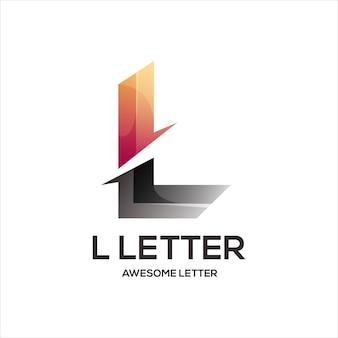L письмо логотип инициалы красочный градиент аннотация