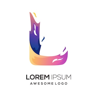 L letter with fire colorful logo gradient illustration