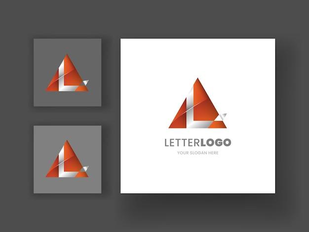 삼각형 좋은 조합 로고 템플릿이 있는 l 편지