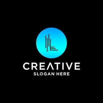 L tech logo design
