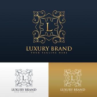 文字lとエレガントな装飾用ロゴ
