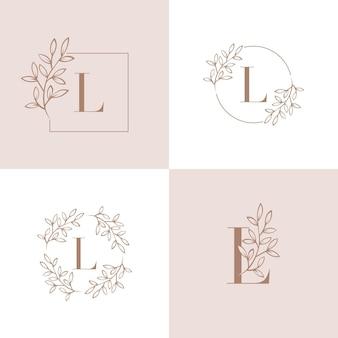 蘭の葉の要素を持つ文字lロゴデザイン