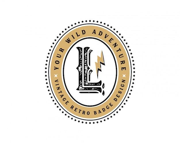 創造的な頭文字lレトロビンテージヒップスターとグランジベクトルのロゴの設計