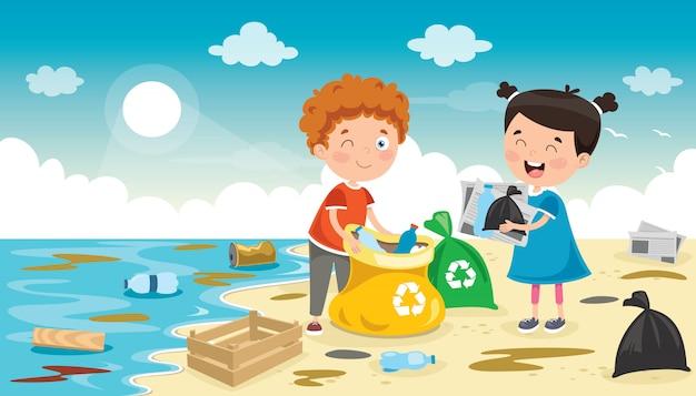 L、小さな子供たちがビーチを掃除