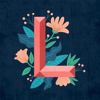 アルファベットのl創造的な花の手紙