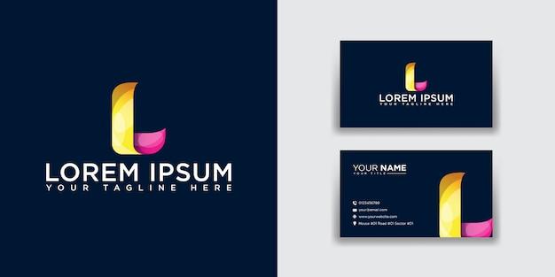 Абстрактная буква l логотип с шаблоном визитной карточки