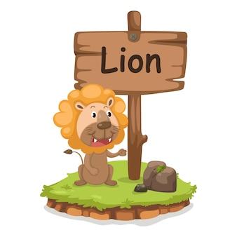 Буква l алфавита животных для вектора иллюстрации льва