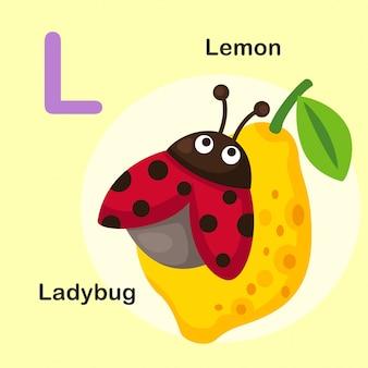 Иллюстрация изолированных животных алфавит буква l-лимон, божья коровка