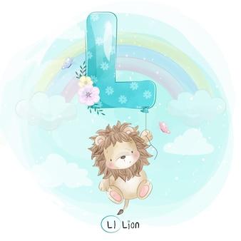 アルファベットlバルーンで飛んでいるかわいいライオン
