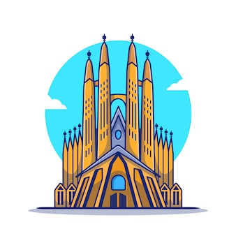 ラサグラダファミリア漫画アイコンイラスト。有名な建物旅行アイコンのコンセプトが分離されました。フラット漫画のスタイル