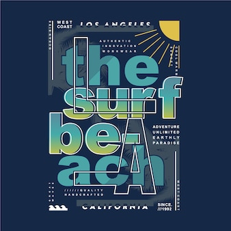 La the surf beach typography design for print t shirt graphic