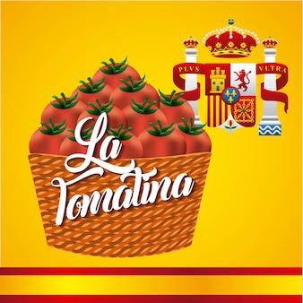 라 토마 티나 바구니 빨간 토마토 플래그 크라운 스페인