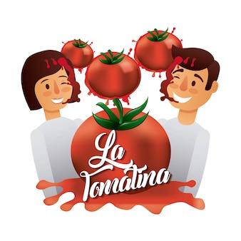 라 tomatina 소년 소녀 분쇄 빨간 토마토 행복 한 얼굴