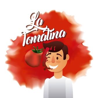 라 토마 티나 소년 빨간 얼굴 스플래시 토마토