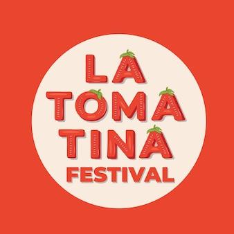 La tomatina festival - надпись на фестивале «томатная битва» в буноле, испания. векторная иллюстрация