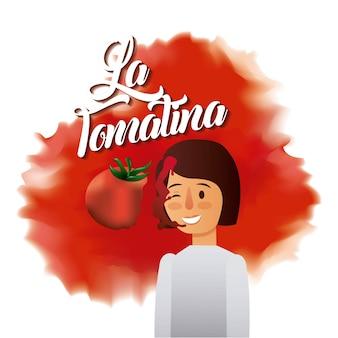라 tomatina 여자 얼굴 분쇄 빨간 토마토 축제