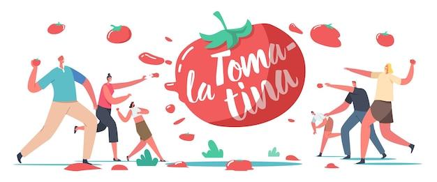 ラトマティーナ、トマトフェスティバルのお祝いのコンセプト。幸せな男性と女性のキャラクターは、他の人を食べるために野菜を投げます。スペインの伝統的なエンターテインメント、収穫の休日。漫画の人々のベクトル図