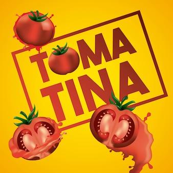 라 토마 티나 노란색 배경 세 토마토 분쇄 축제