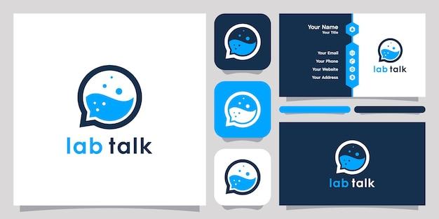 Лаборатория и чат пузырь логотип дизайн значок символ вектор шаблон. дизайн логотипа и дизайн визиток.
