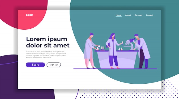 Lab assistants doing research landing page template