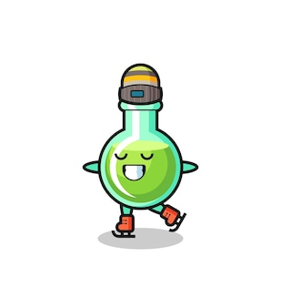 Lab beakers cartoon as an ice skating player doing perform , cute style design for t shirt, sticker, logo element
