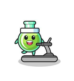 러닝머신 위를 걷는 실험실 비커 만화 캐릭터, 티셔츠, 스티커, 로고 요소를 위한 귀여운 스타일 디자인