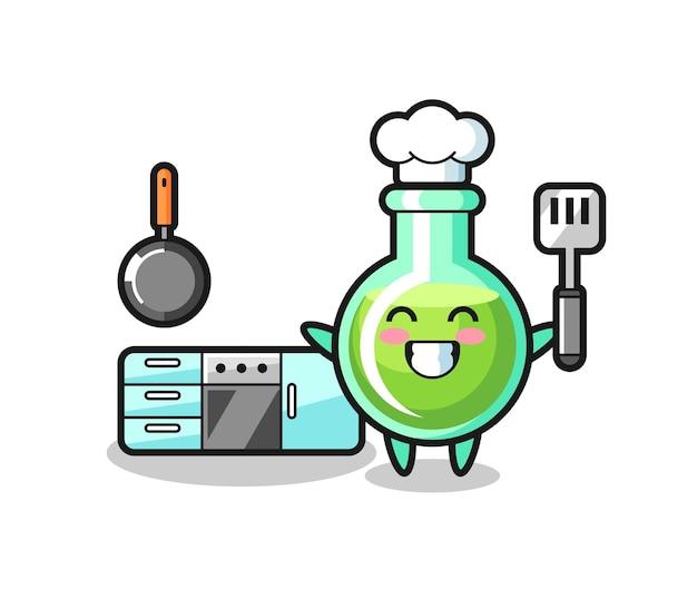 요리사가 요리하는 실험실 비커 캐릭터 일러스트레이션, 티셔츠, 스티커, 로고 요소를 위한 귀여운 스타일 디자인