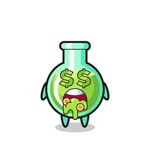 돈에 열광하는 표현을 가진 실험실 비커 캐릭터, 티셔츠, 스티커, 로고 요소를 위한 귀여운 스타일 디자인