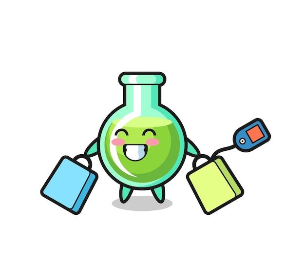 Lab beakers mascot cartoon holding a shopping bag , cute style design for t shirt, sticker, logo element