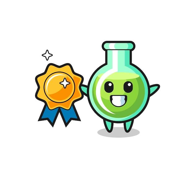 Lab beakers mascot illustration holding a golden badge , cute style design for t shirt, sticker, logo element