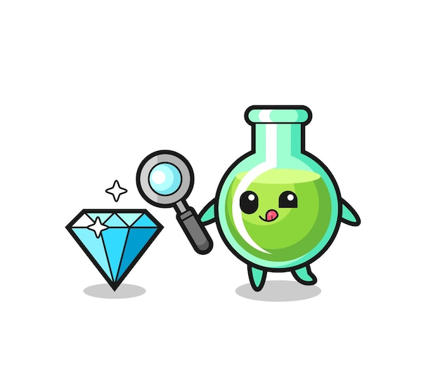 Lab beakers mascot is checking the authenticity of a diamond , cute style design for t shirt, sticker, logo element