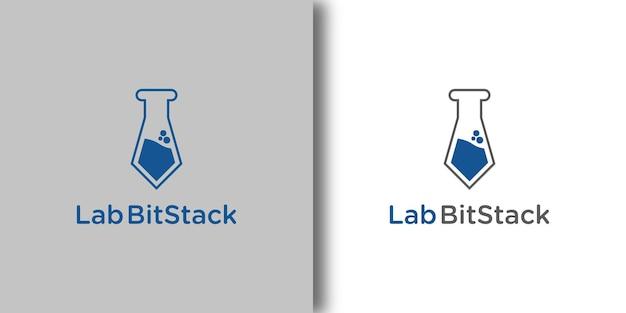 Шаблон логотипа lab bitstack с современной концепцией