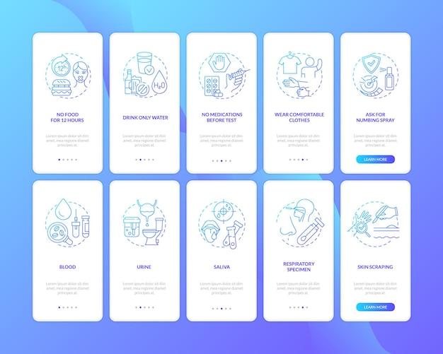 Лабораторные диагностические процедуры на экране страницы мобильного приложения с набором концепций. прохождение обследования здоровья 5 шагов графических инструкций. шаблон пользовательского интерфейса с цветными иллюстрациями rgb