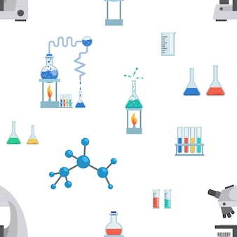 Lab equipment flat seamless pattern