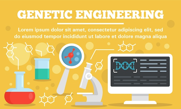Lab genetic engineering concept banner template, flat style