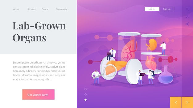 Lab-grown organs landing page template