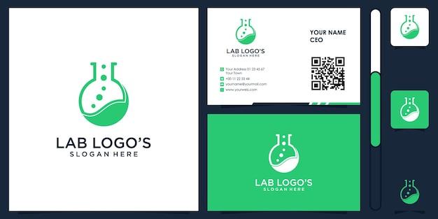 Lab logo with business card design vector premium
