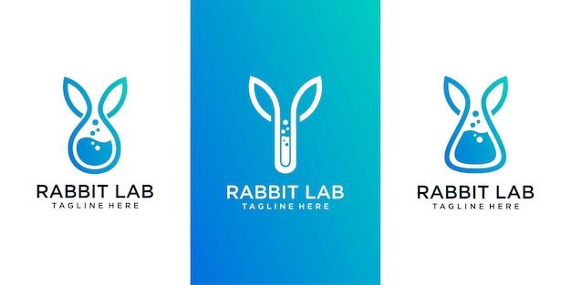 Лаборатория кролик шаблон логотипа дизайн вектор