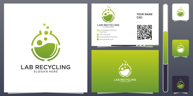 Lab recycling logo with business card design vector premium